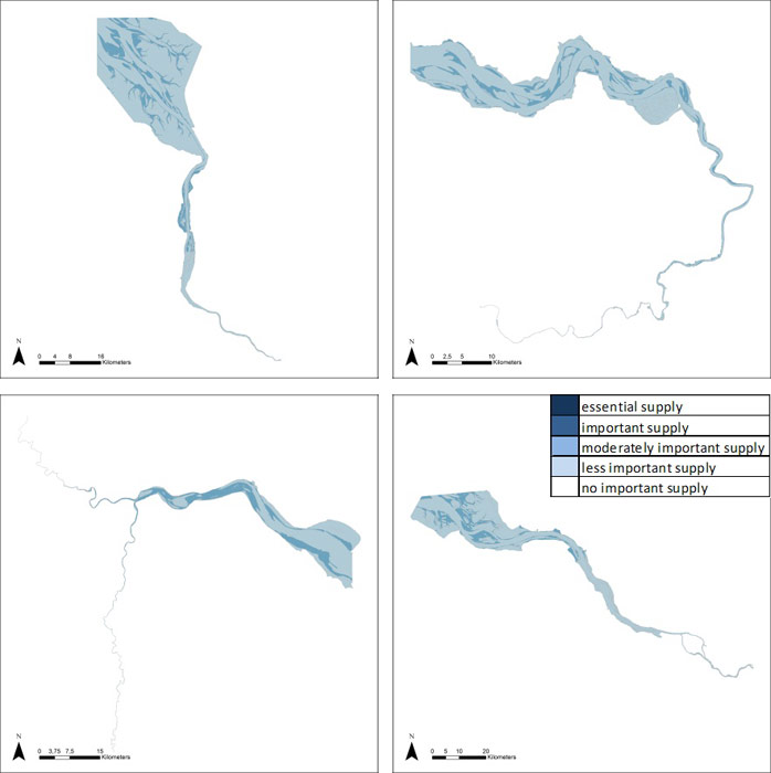 Figure 12: Provision of food in the Weser, Scheldt, Humber and Elbe estuary, based on average habitat-specific supply scores per salinity zone, and involving local and site-specific scientific expertise.