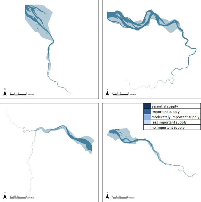 Figure 13: Provision of water for industrial use in the Weser, Scheldt, Humber and Elbe estuary based on average habitat-specific supply scores per salinity zone, and involving local and site-specific scientific expertise.