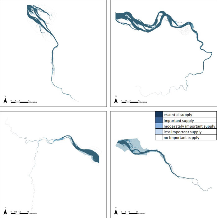 Figure 14: Provision of water for navigation in the Weser, Scheldt, Humber and Elbe estuary based on average habitat-specific supply scores per salinity zone, and involving local and site-specific scientific expertise.