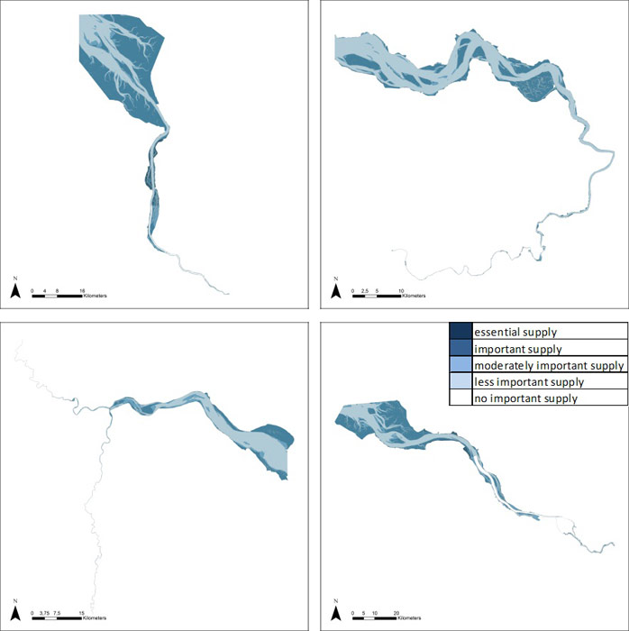 Figure 15: Carbon sequestration and burial in the Weser, Scheldt, Humber and Elbe estuary based on average habitat-specific supply scores per salinity zone, and involving local and site-specific scientific expertise.