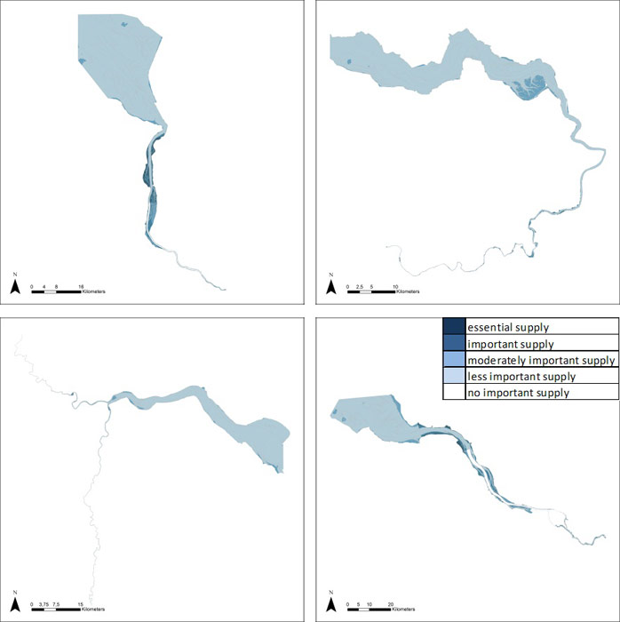 Figure 16: Flood water storage in the Weser, Scheldt, Humber and Elbe estuary based on average habitat-specific supply scores per salinity zone, and involving local and site-specific scientific expertise.
