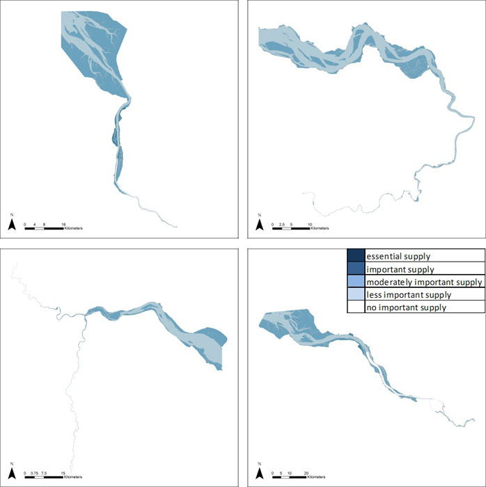 Figure 17: Water current reduction in the Weser, Scheldt, Humber and Elbe estuary based on average habitat-specific supply scores per salinity zone, and involving local and site-specific scientific expertise.