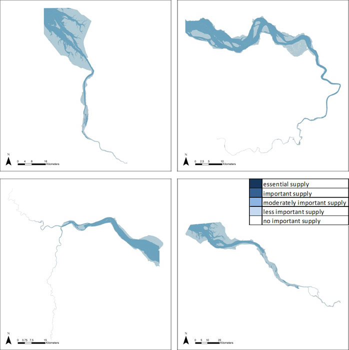 Figure 19: Drainage of river water in the Weser, Scheldt, Humber and Elbe estuary based on average habitat-specific supply scores per salinity zone, and involving local and site-specific scientific expertise.
