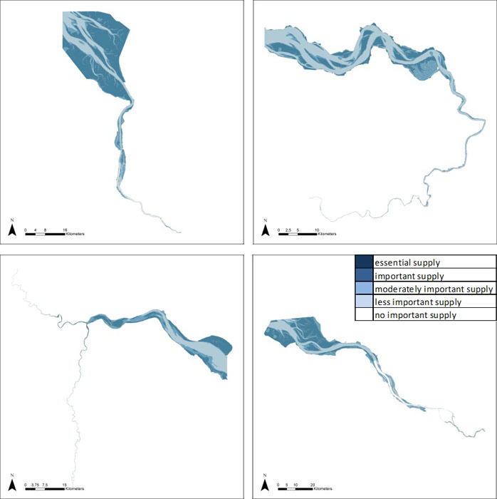 Figure 20: Dissipation of tidal and river energy in the Weser, Scheldt, Humber and Elbe estuary based on average habitat-specific supply scores per salinity zone, and involving local and site-specific scientific expertise.