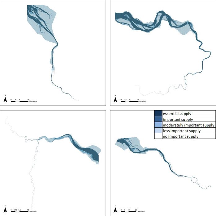 Figure 22 Water quantity regulation for navigation in the Weser, Scheldt, Humber and Elbe estuary based on average habitat-specific supply scores per salinity zone, and involving local and site-specific scientific expertise.