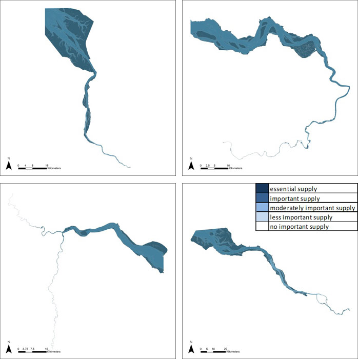 Figure 25: Erosion and sedimentation regulation by water bodies in the Weser, Scheldt, Humber and Elbe estuary, based on average habitat-specific supply scores per salinity zone, and involving local and site-specific scientific expertise.