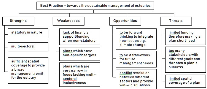 Figure 5  Common strengths, weaknesses, opportunities and threats identified within the management plans of the four TIDE estuaries