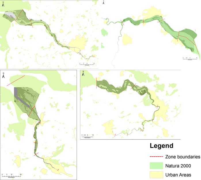 Figure 8: Natura 2000 areas along the TIDE estuaries (CUTTS &HEMINGWAY 2012)