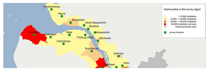 Map 1: Survey locations<br>(data source: Statistisches Bundesamt 2010